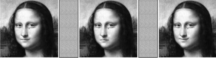 Ulike varianter av Mon Lisas smil som ble vist studiedeltagerne. (Foto: (Bilde fra forskningsartikkelen.))