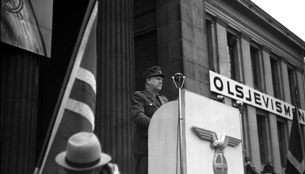 Vidkun Quisling tordnet mot bolsjevismen på Universitetsplassen i Oslo i 1944, men tjue år tidligere hadde han et helt annet syn på kommunistene i Russland. (Foto: Aage Kihle/NTB scanpix)