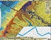 Dette kartet viser ulike bunntyper, der blått antyder slam, gult sandige sedimenter og oransje viser grus. Rosa antyder både grus og større steiner. Lilla viser sannsynlige forekomster av koraller.