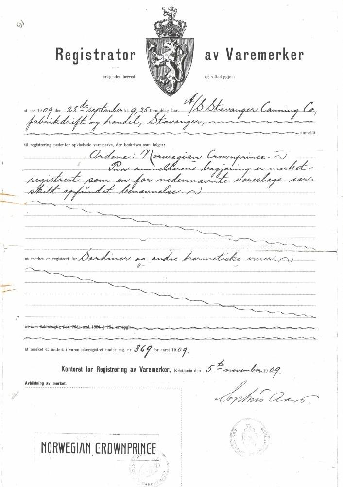 Kopi av registreringen av varemerket Norwwgian Crown- Prince Foto: MUST/ Norsk hermetikkmuseum