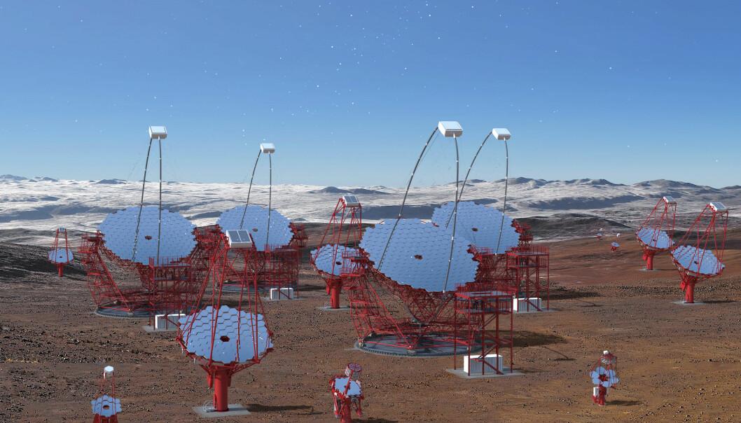 Når Cherenkov Telescope Array er ferdig utbygd, skal observatoriet bestå av over 100 teleskoper på La Palma (Kanariøyene) og i ørkenen i Chile. (Foto: Gabriel Pérez Diaz)
