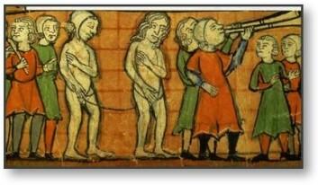 Ekteskapsbrytere vises fram i middelalderen.