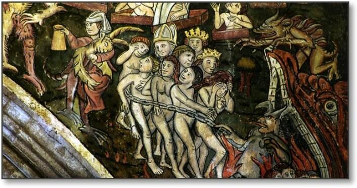 Dommedagsbilde fra kirken St. Thomas The Martyr i Newcastle upon Tyne. Bildet er antakelig fra 1400-tallet.