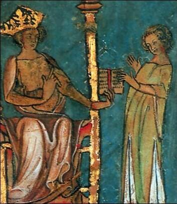 Utsnitt av miniatyrmaleri fra lovskriftet Codex Hardenbergianus, et illuminert håndskrift fra 1300-tallet, som viser kong Magnus Lagabøte som gir fra seg Landsloven 1274–1276. Byloven som ble vedtatt for Bergen i 1276, tok utgangspunkt i denne og Bjarkøyretten, Trondheims gamle bylov.