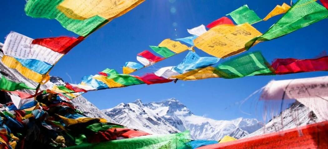 Nordsiden av Mount Everest sett fra en forskningsstasjon i Tibet som klimaforsker Hans Christian Steen-Larsen besøkte i 2016. (Foto: Hans Christian Steen-Larsen)