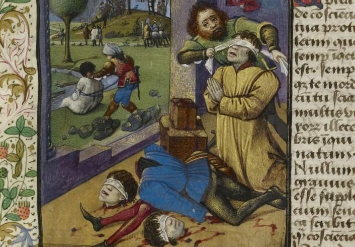 Disse bildene av halshugginger illustrerer en tekst skrevet av Pave Pius II (1405-1464) noen år før han ble pave. I bakgrunnen ser vi også en mann på vei til galgen og en mann som skal druknes.