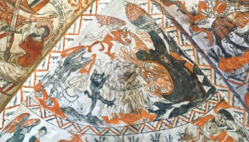 Folk før i tiden hadde nok en klar forståelse av hvordan Helvete så ut. Kirken hjalp dem med fantasien. Helvete var et sted hvor forbrytere og andre onde mennesker skulle oppholde seg i all evighet. Dette bildet er malt på veggen i danske Tuse kirke på 1400-tallet.  (Foto: Hideko Bondesen, CC BY-SA 2.5)