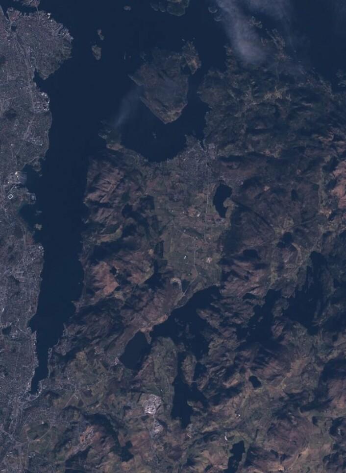 Sentinel-2A tok 7. mars dette bildet av området øst for Stavanger og Sandnes. (Bilde: Copernicus Sentinel data 2017)