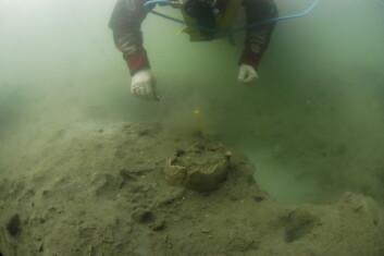 Norsk Maritimt Museum undersøker 9000 år gamle skjelettdeler på sjøbunnen i Vest Agder. (Foto: Pål Nymoen)