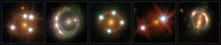 En rekke gravitasjonslinser med kvasarer bak. (Foto: (Bilde: ESA/Hubble, NASA, Suyu et al))