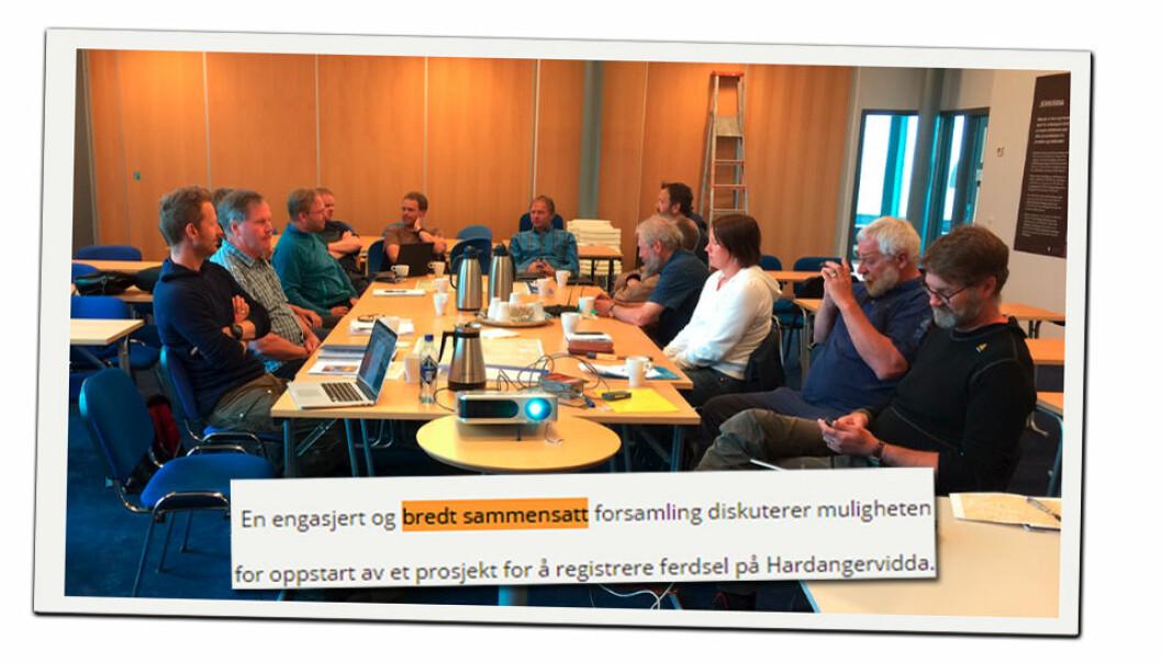 Dette er ikke et uvanlig bilde av en forsamling i norsk villreinforvaltning, heller ikke i utmarksforvaltningen mer generelt, ifølge kronikkforfatterne. (Faksimile: fra Villrein.no, foto av Marianne Singsaas)