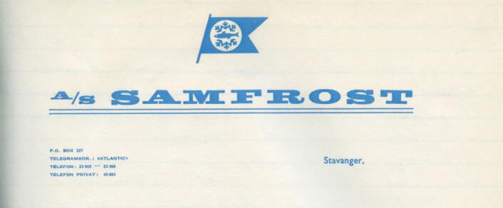 Brevhodet til A/S Samfrost, et samarbeid mellom sardinfabrikker i Stavanger Foto: MUST/ Norsk hermetikkmuseum