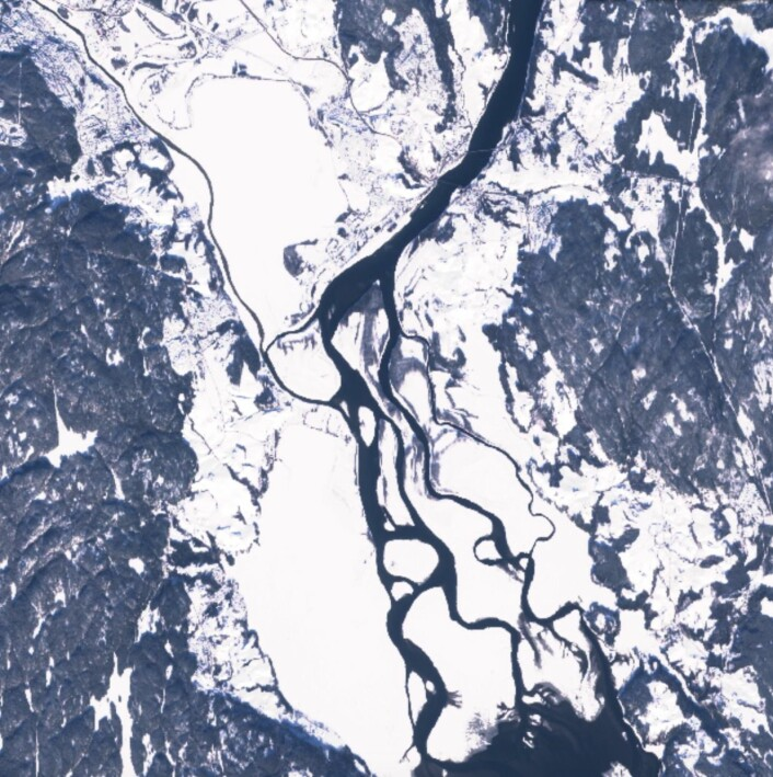 Nordre Øyeren sett fra Sentinel-2A en fin vinterdag (22 feb). (Bilde: Copernicus Sentinel data 2017)