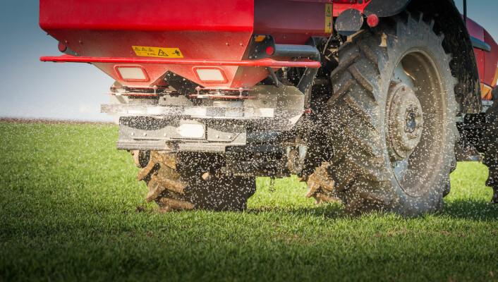 En traktor gjødsler en hveteåker. (Foto: (Illustrasjonsbilde: Shutterstock/NTB Scanpix))