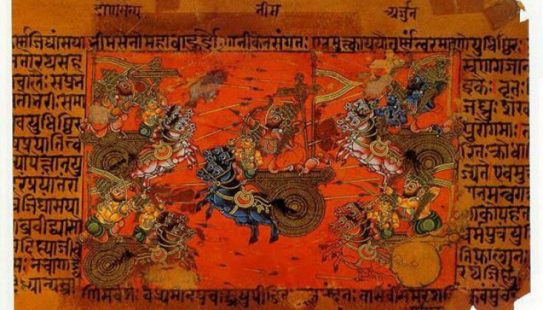 En krigsscene fra den indiske fortellingen Mahabharata. Det er skrevet på språket sanskrit som er flere tusen år gammelt. (Bildet: Wikimedia Commons, fri bruk)