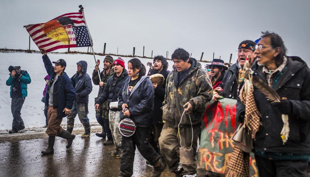 Det har vært store demonstrasjoner mot byggingen av oljerørledningen i Nord-Dakota.  (Foto: Michael Nigro / NTB scanpix)