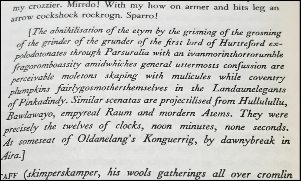 <i>Finnegans Wake</i> side 353. Her refererer James Joyce til Ernest Rutherford (<i>lord of Hurtreford</i>) og spaltingen av atomet (<i>the etym</i>). (Foto: Eivind Torgersen)