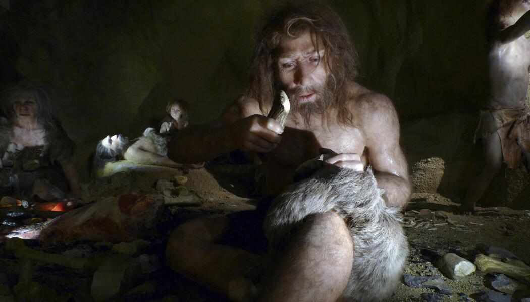 En rekonstruksjon av en neandertaler-mann i Krapina-hulen, et stort funnsted i Krotia. (Illustrasjonsbilde: REUTERS/Nikola Solic/NTB Scanpix)