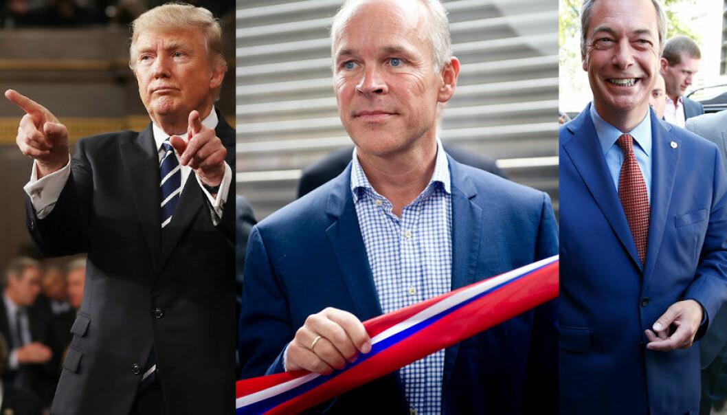 Hva har Donald Trump, Jan Tore Sanner og Nigel Farage til felles? (Montasje: Reuters, Jim Lo Scalzo/Reuters, Peter Nicholls/Jon Olav Nesvold, NTB scanpix)