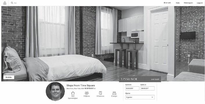 Slik så boligen i New York ut i Airbnb-annonsen  ut som deltakerne skulle vurdere om de ville leie. (Foto: Fagerstrøm mfl/Computers in Human Behavior)