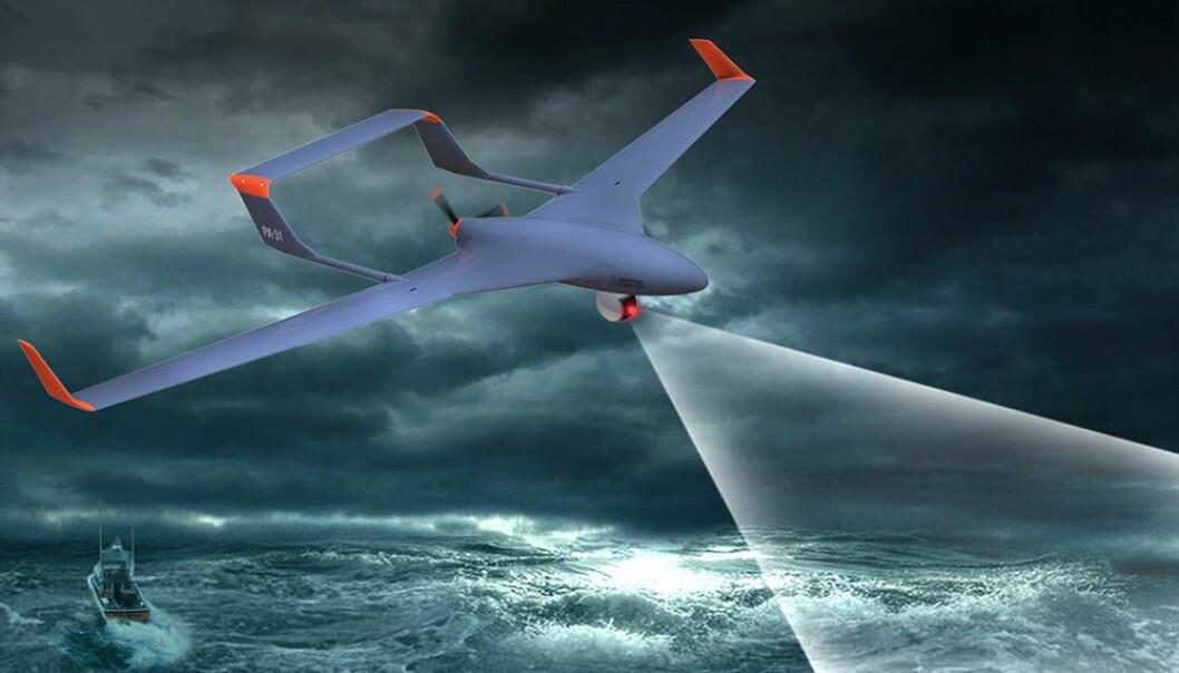 NTNU har utviklet en ny metode for å fange flyvende droner i fart. Metoden er aktuell for skip, oljeplattformer og andre plasser der fastvingedroner ikke kan lande. (Illustrasjon: Maritime Robotics AS)