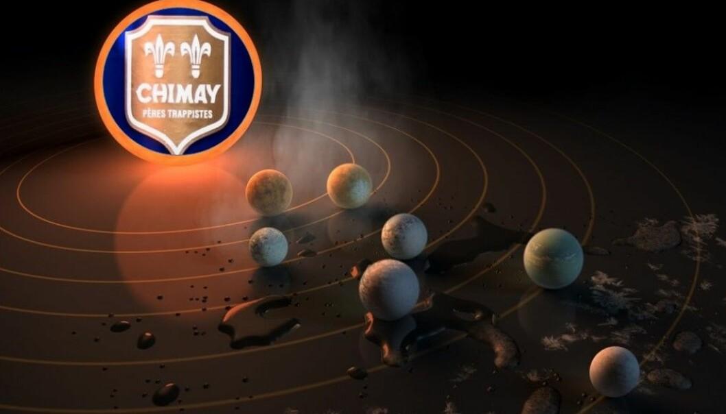 Ølbryggende munker i verdensrommet. (Illustrasjon: NASA/JPL-Caltech. Foto:  Philip Rowlands. Montasje: Eivind Torgersen)