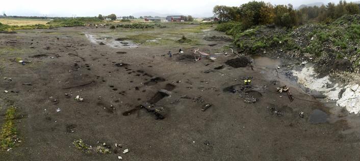 Her er utgravningsfeltet hvor båten og skoene ble funnet. (Foto: Photo: Åge Hojem / NTNU Vitenskapsmuseet)