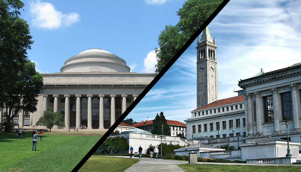 """Hvem eier rettighetene til CRISPR-teknologien? Er det Harvard og MIT (til venstre) eller University of California Berkeley (til høyre) som vinner fram i domstolene? (Foto av John Phelan / <a href=""""https://creativecommons.org/licenses/by/3.0/"""">CC BY 3.0</a> og Charlie Nuyen / CC-by-2.0. Mixet av forskning.no)"""