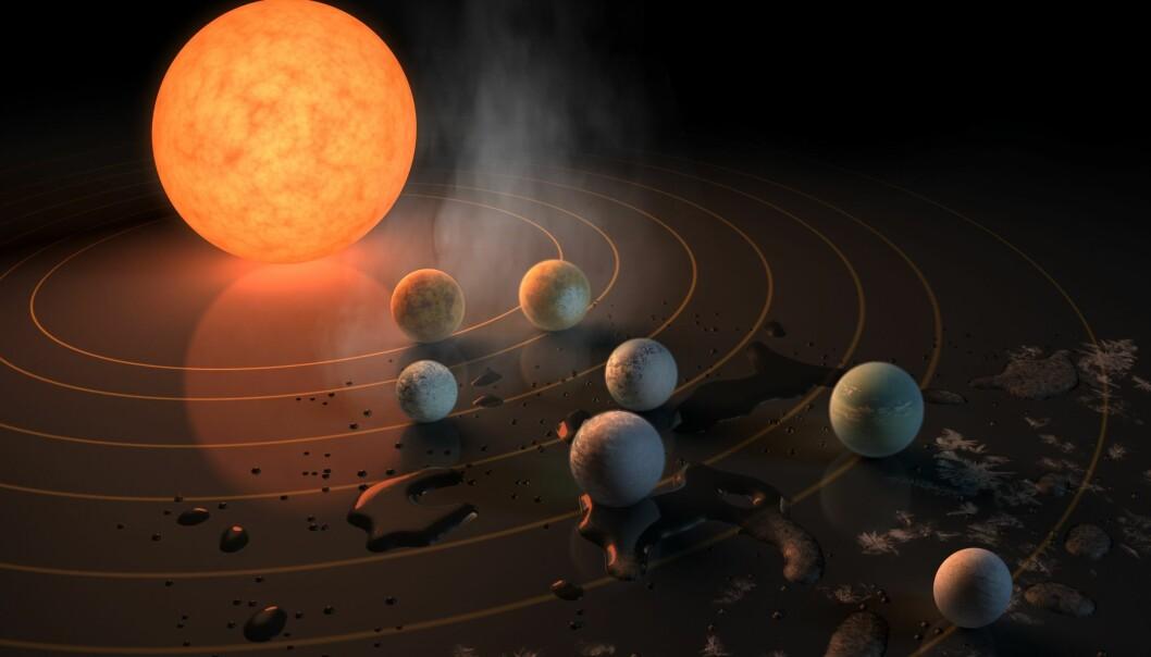 Illustrasjon som viser hvordan vann vil oppføre seg på de forskjellige planetene i TRAPPIST-1-systemet.  (Ill.: NASA/JPL-Caltech)