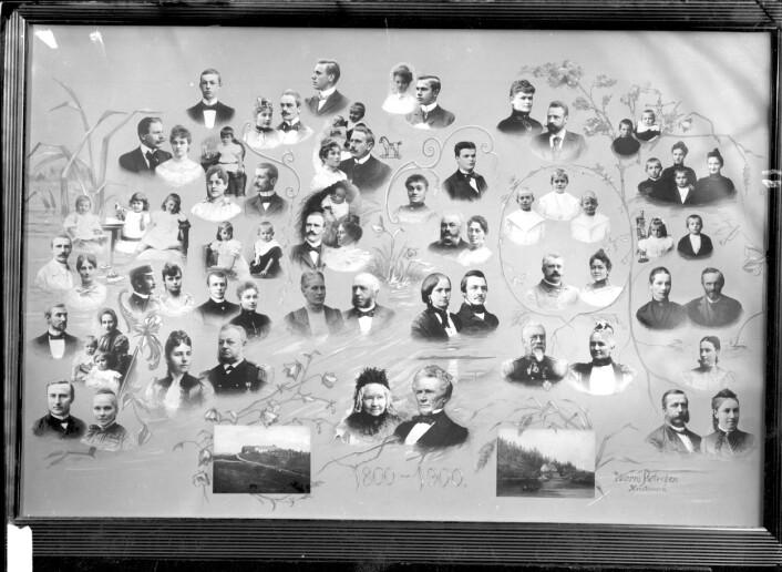 Dette bildet viser et slektstre med portretter av familiemedlemmer. Bildet er tatt mellom 1890 og 1910. (Foto: Severin Worm-Petersen/Norsk Teknisk Museum)