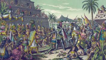 Dette maleriet viser møtet mellom azteker-herskeren Montezuma og den spanske conquistadoren Hernán Cortés i 1519. To år senere overtok spanjolene byen. (Illustrasjon: Kurz & Allison / Mary Evans Picture Library / NTB scanpix)