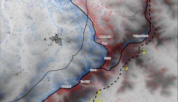 Dette kartet viser hvordan skyttergravene snirkler seg gjennom landskapet i Ypres. De røde linjene er de tyske skyttergravene, og de blå er de alliertes. De svarte linjene viser frontene på forskjellige stadier i krigen. Se det samme kartet med forklaring i bunn av saken. (Bilde: Stichelbaut et al.)