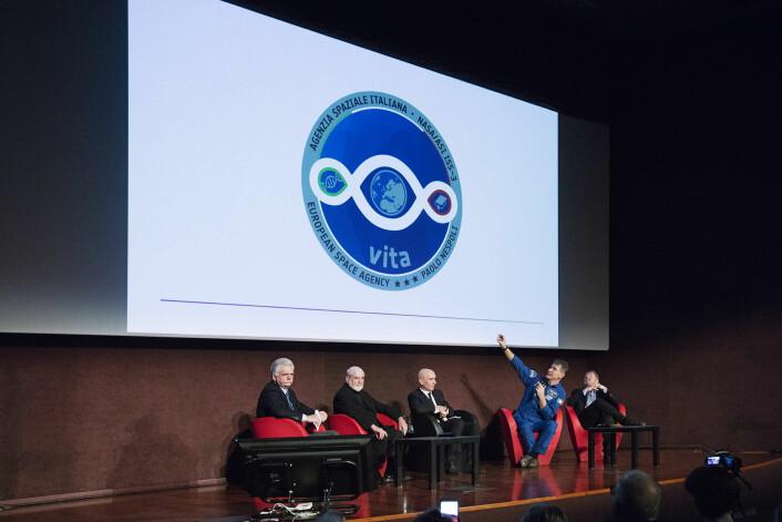 Den italienske romfareren Paolo Nespolis ferd til romstasjonen i 2017 heter VITA. Logoen ble avduket i Milano i februar samme år. (Foto: A. Maniscalco)