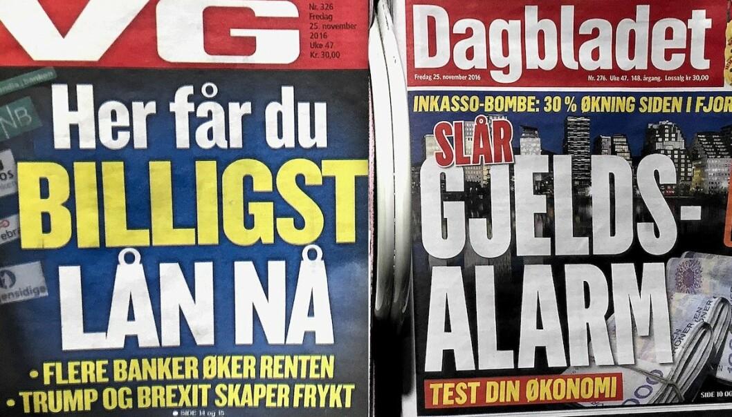 VG fortalte fredag 25. november hvor du får billigst lån. Dagbladet slo samme dag alarm om gjelden din. Begge deler i et avisstativ på Oslo S.  (Foto: Bård Amundsen)