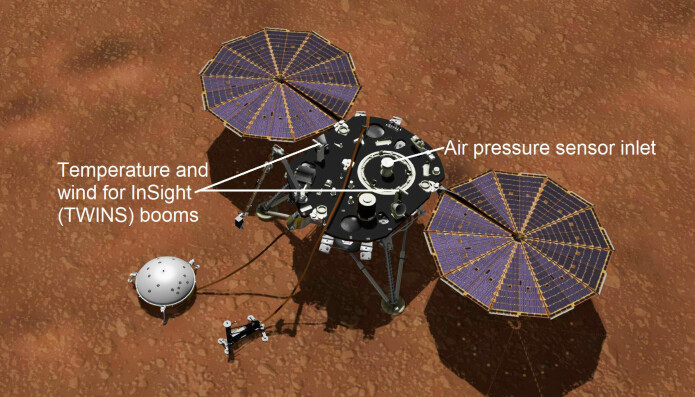 Slik er måleinstrumentene plassert på romsonden Insight. (Illustrasjon: NASA/JPL-Caltech)