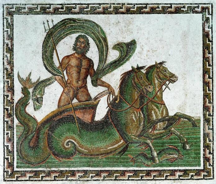 En mosaikk som forestiller havguden Neptun og to stolte sjøhester. (Wikimedia Commons, CC BY-SA 3.0)