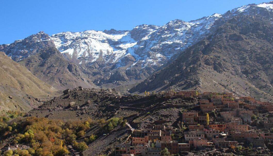 En av berberlandsbyene i området ved Imlil i Høy-Atlas, der Irene Teixidor-Toneu gjorde sine feltstudier. (Foto: Dag Inge Danielsen, UiO)