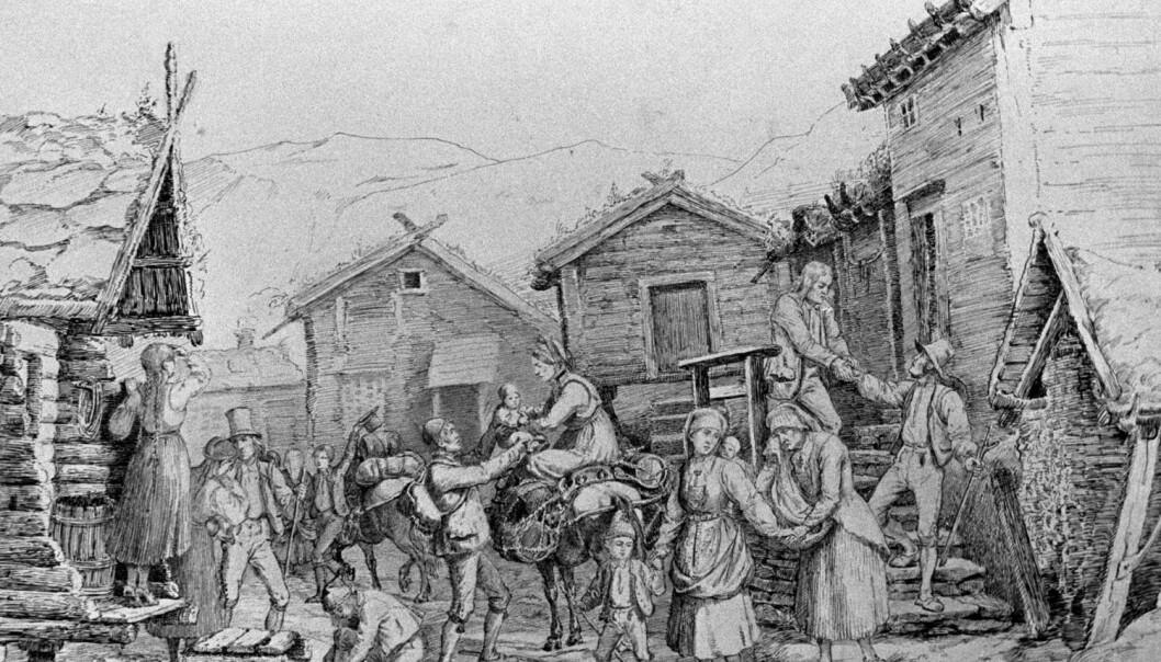 Adolph Tiedemands tegning «Emigranter», hentet fra Nasjonalgalleriet, Kobberstikksamlingen. Tegningen viser nordmenn som pakker og forlater hjemstedet.  (Tegning: Adolph Tiedemand)