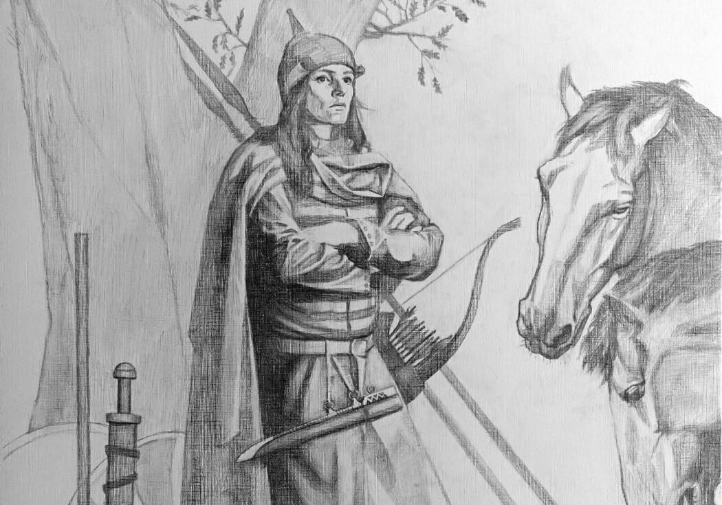 Vikingkrigeren fra den svenske graven, slik en kunstner ser henne for seg. Hun ble begravet med mye av det du ser på bildet (Bilde: Tancredi Valeri/Antiquity 2019)