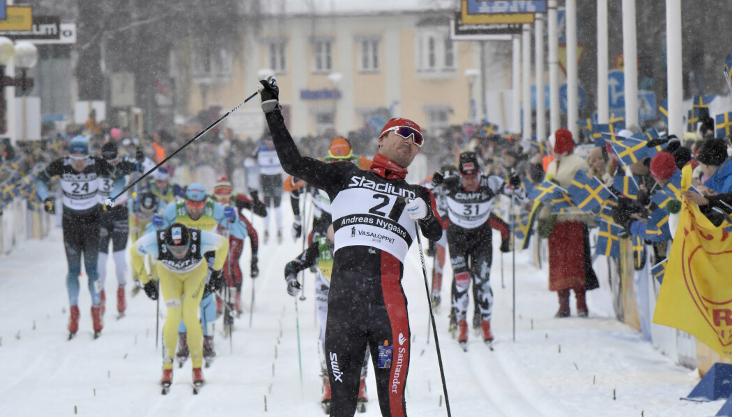 Nordmannen Andreas Nygaard vinner Vasaloppet 2018. (Foto: Ulf Palm, NTB scanpix)