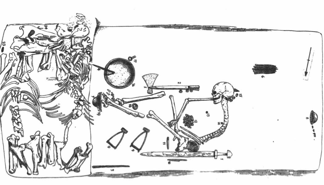 Tegningen viser graven slik den ble beskrevet da den ble åpnet. Denne illustrasjonen er fra 1943 (Bilde: Arbmann 1943/Antiquity 2019)