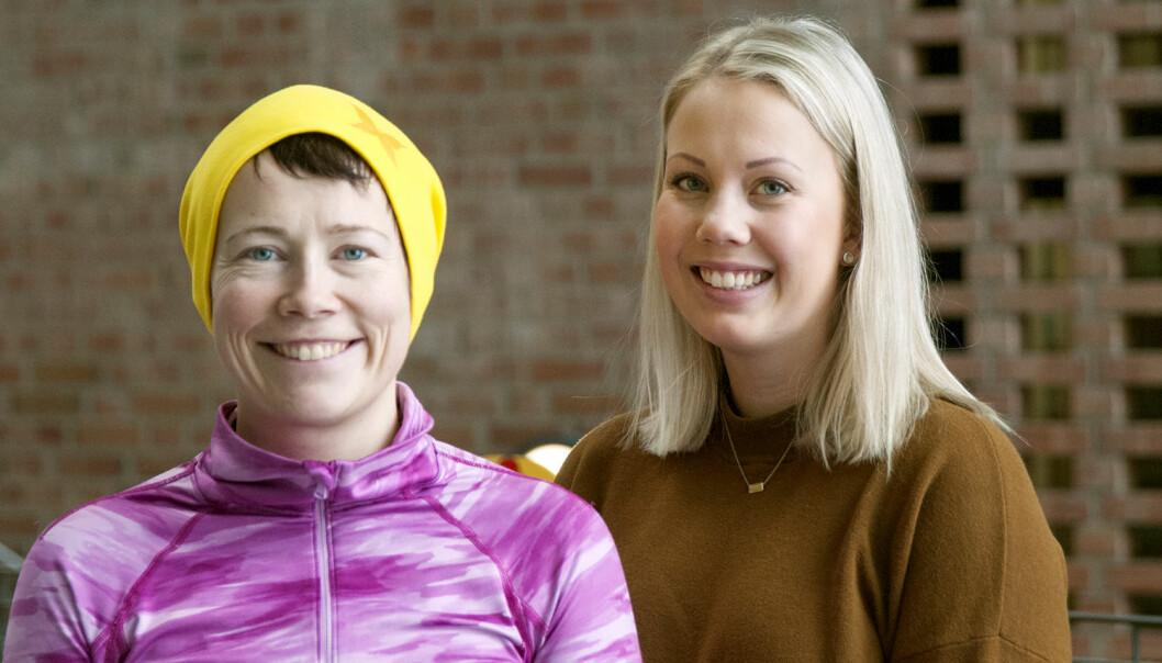 Nin Ingelin Festvåg (t.v.) og Martine Hov er sykepleierstudenter ved Universitetet i Agder. (Foto: UiA)