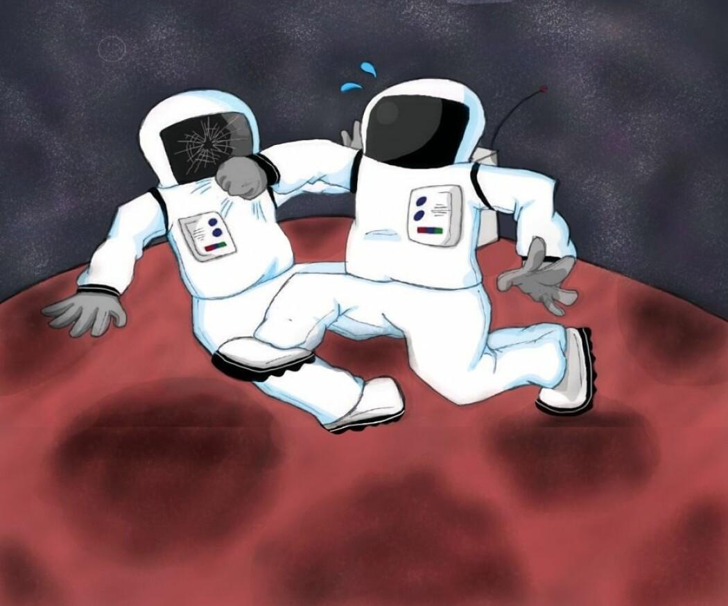 Mars er ikke underlagt noen nasjon. Men betyr det at den røde planeten er like lovløs som Det ville vesten? (Illustrasjon: Charlotte Price Persson/Anne Sophie Thingsted)