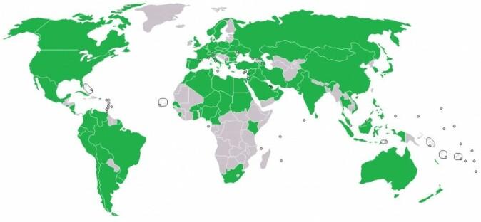 Her kan du se hvilke land som var medlemmer av COPUOS i 2017. Senere har tallet steget fra 87 til 92. Medlemslandene er de grønne. (Illustrasjon: ChickenWindow/CC BY-SA 4.0)