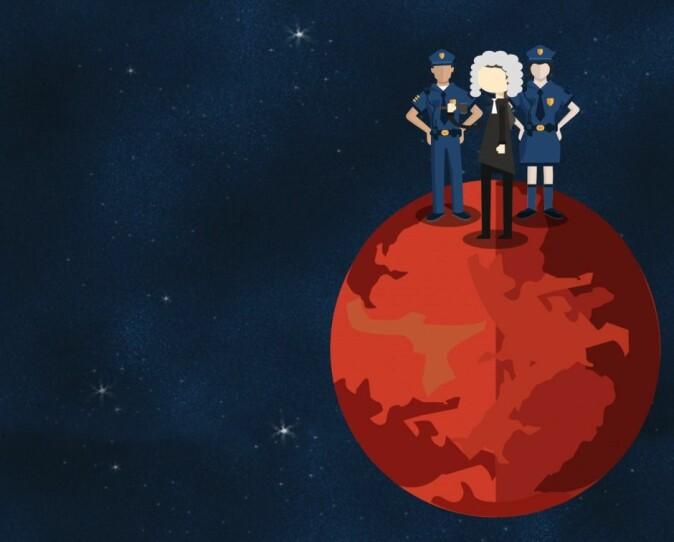 Et helt annet dilemma er om den voldelige astronauten skulle sendes tilbake til jorden for å sone en eventuell fengselsstraff eller om han skulle sperres inne på planeten. Det spørsmålet tar vi ikke opp i denne artikkelen. (Illustrasjon: Anne Sophie Thingsted)