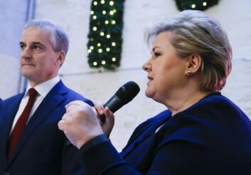 På et frokostmøte i slutten av januar møttes statsminister Erna Solberg (H) og Jonas Gahr Støre (Ap) for å forklare hvordan de mente Norge burde møte automatiseringen av arbeidslivet. (Foto: Terje Pedersen / NTB scanpix)
