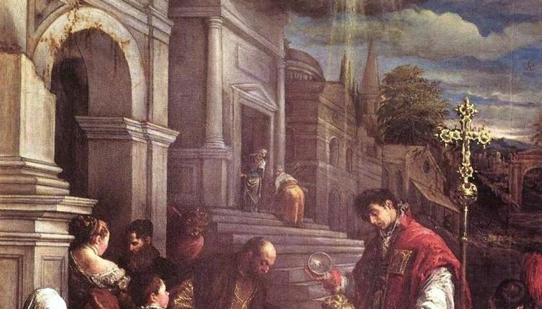 Maleriet viser St. Valentin som døper St. Lucilla. (Illustrasjon: Jacopo Bassano, Wikimedia Commons)