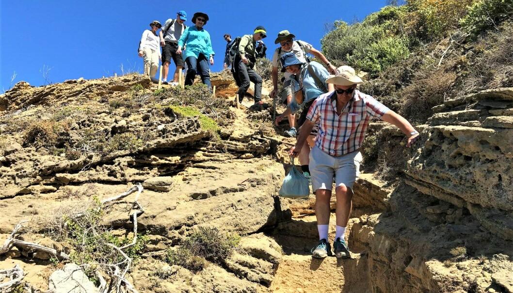 Forskerne må klatre nedover fjellsiden for å komme fram til hulen. (Foto: UiB)