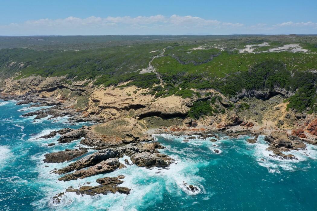 Grotten ligger helt til høyre i bildet. Det var her forskerne fant verdens eldste menneskeskapte tegning. (Foto: UiB)