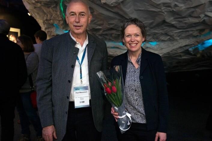 Paul Wassmann og Marit Reigstad er to av forskerne som står bak utstillingen «Levende is» på Polarmuseet i Tromsø. (Foto: Julia Brekmo)